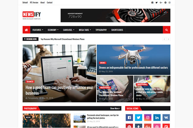 [Free Download] Newsify Blogger Template