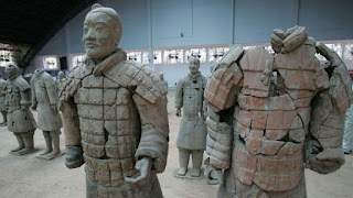vandalized terracotta warrior statue