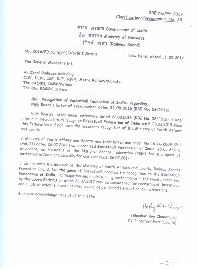 recognition of basketball federation of india - railway board order 126-2017