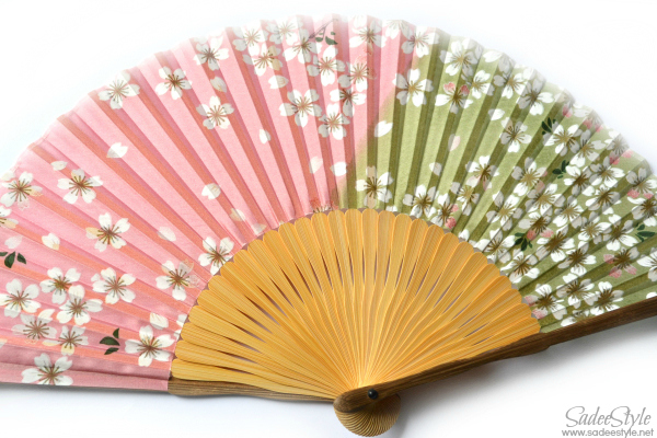 Floral Print Silk Fan