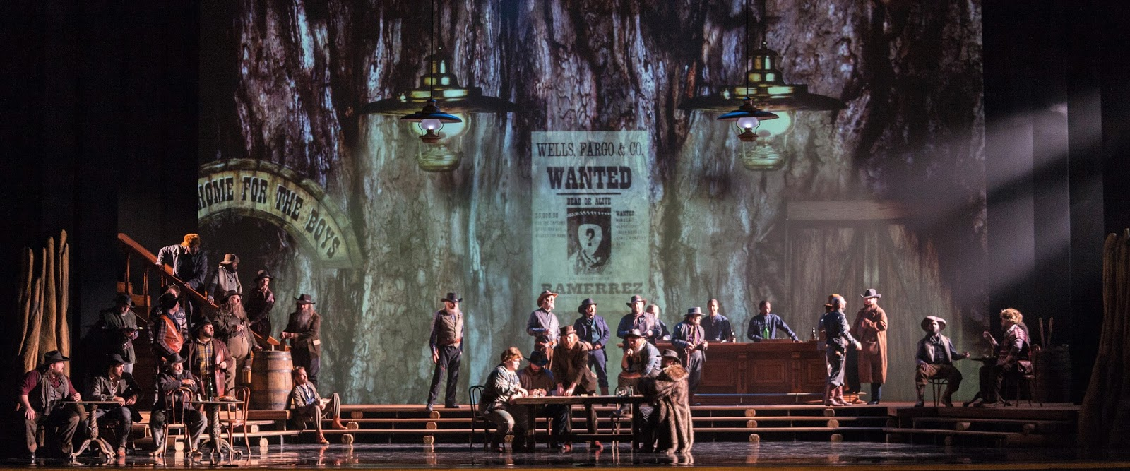 IN PERFORMANCE: The cast of Opera Carolina's production of Giacomo Puccini's LA FANCIULLA DEL WEST, April 2017 [Photo by Mitchell Kearney, © by Opera Carolina]