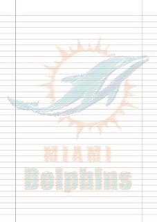 Papel Pautado do Miami Dolphins rabiscado PDF para imprimir na folha A4