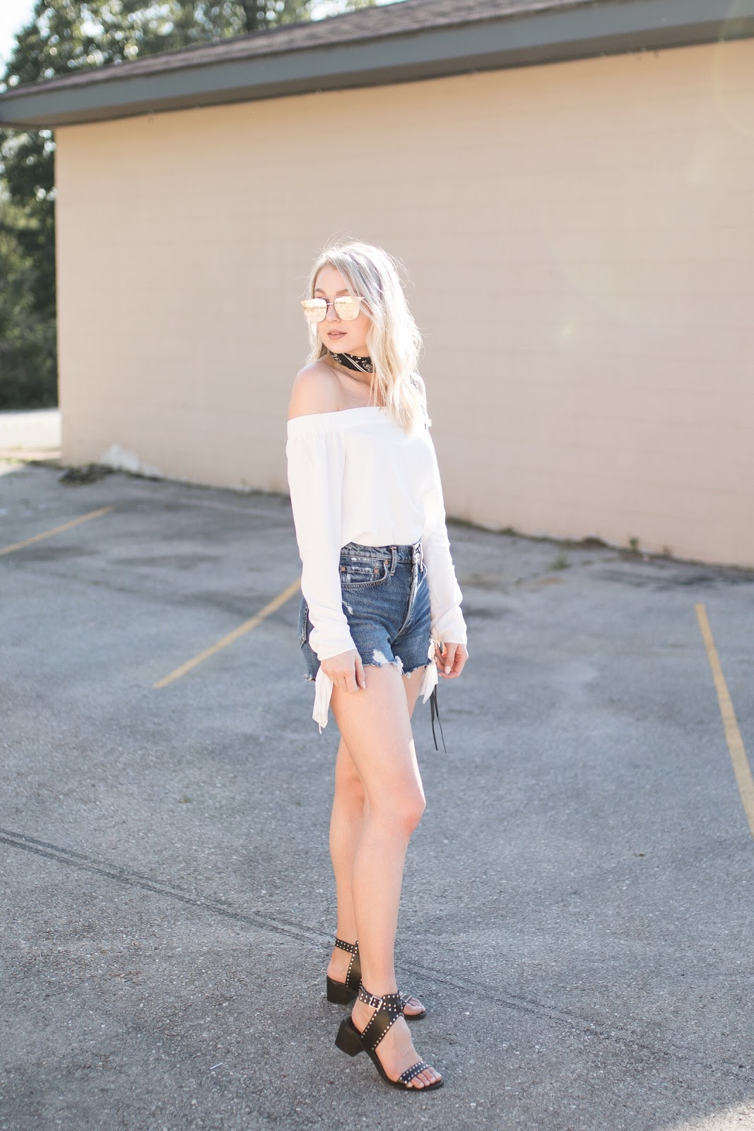 off-shoulder top with cutoff shorts