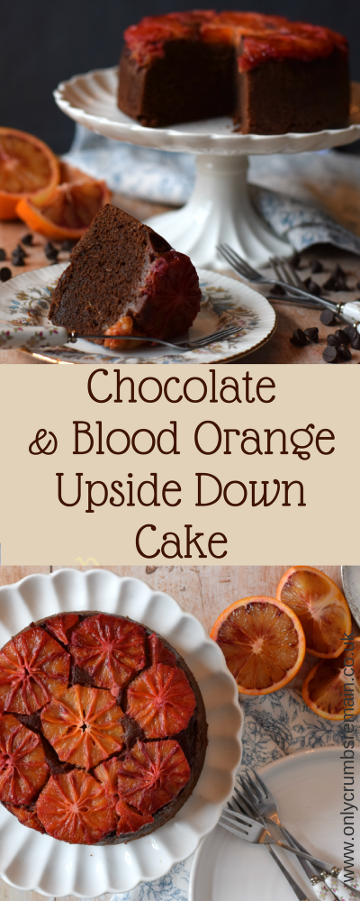 This Chocolate Orange Upside Down cake is made with seasonal blood oranges.  This easy cake recipe showcases the orange off to the max and has great flavour paring too.  It's perfect to enjoy in the afternoon with a pot of tea, or with the family after the evening meal.