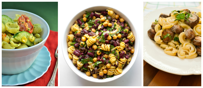 three vegan pasta salads