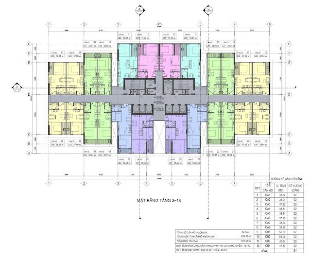 Mặt bằng tầng 3-18 dự án Del Dorado Phú Thanh