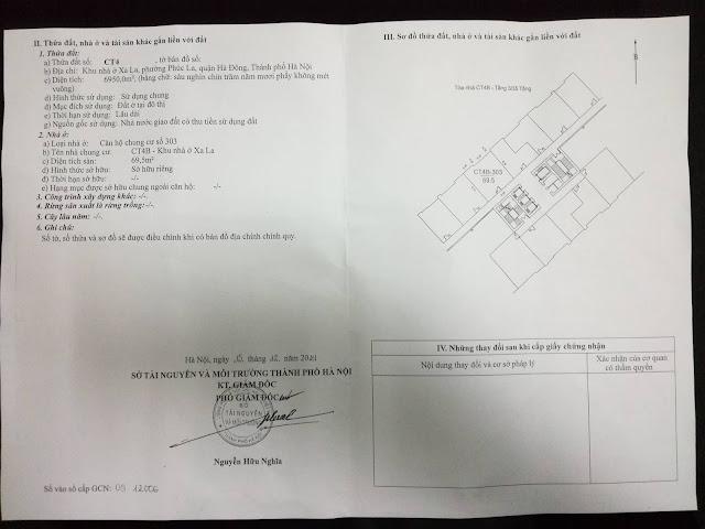 Sổ đỏ chính chủ căn hộ chung cư CT4B Xa La - Hà Đông - HN
