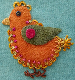 Robin Atkins embroidered, wool applique chick, in process