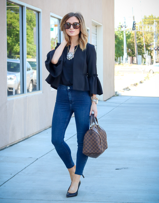 topshop black ruffle blazer with high waisted jeans