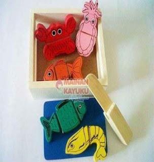 Mainan Kayu Anak Ikan Potong