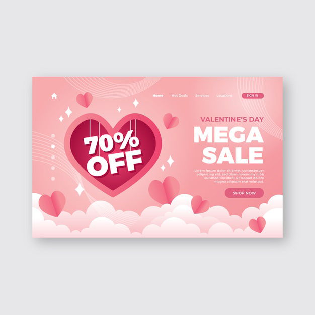 Romantic valentines day landing page Free Vector