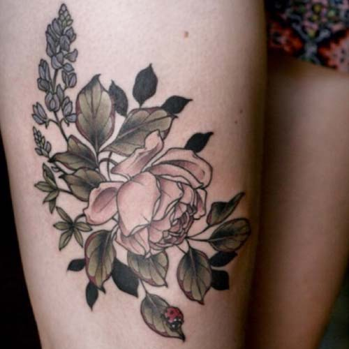 kadın üst bacak çiçek dövmesi tumblr woman thigh flower tattoo
