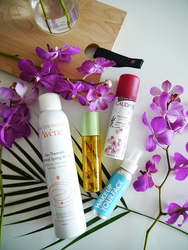 Summer face mists and sprays: Eau Thermale Avene, Pixi Skintreats Vitamin Wakeup Mist, Caudalie Grape Water, Wake Up Your Face by Whiffcraft
