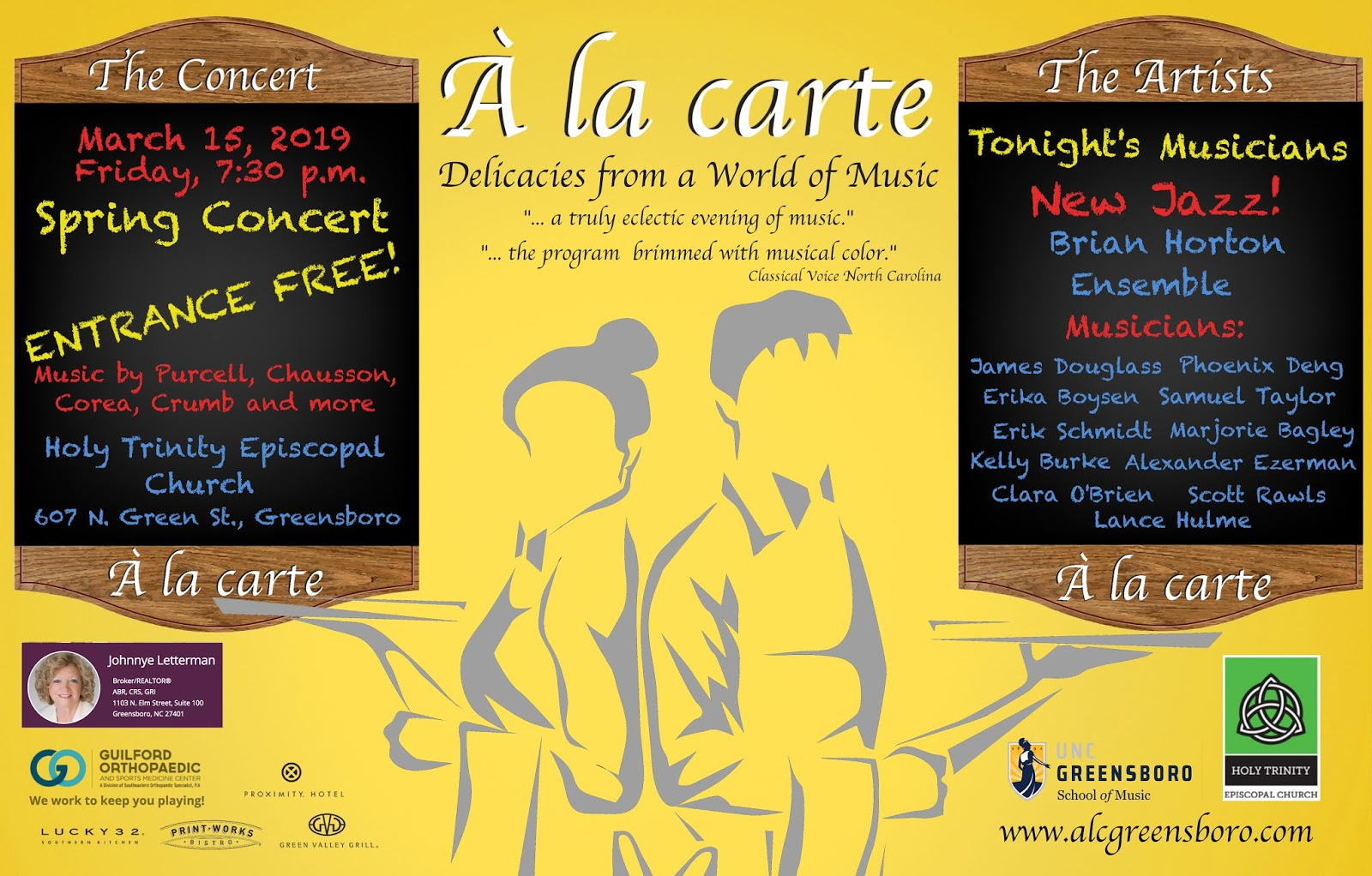 ARTS IN ACTION: the À la carte concert series presents its Spring 2019 concert in Greensboro's Holy Trinity Episcopal Church on 15 March 2019 [Graphic © by À la carte]