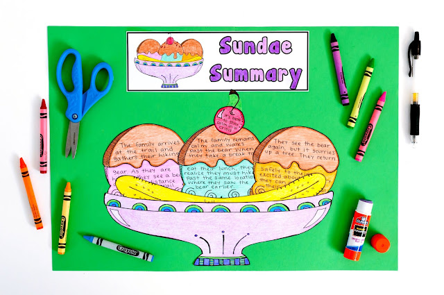 Summarizing Fiction Craftivity- teach students how to write a stellar summary with the ice cream sundae approach!