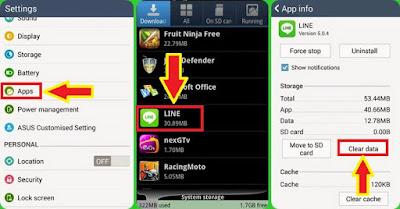 cara logout Line di Android dengan mengapus data