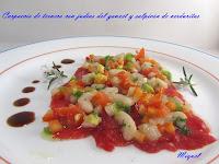 Carpaccio de ternera con judías del Ganxet y salpicón de verduras
