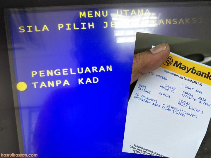 Cara Untuk Keluarkan Duit Tanpa Guna Maybankard di Mesin ATM