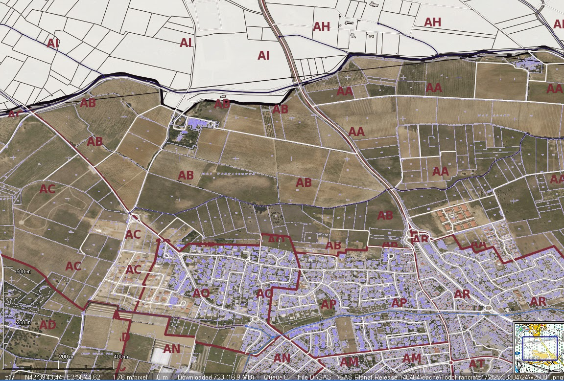 Cartografa digital francia y portugal en sasplanet captura a zoom 17 gumiabroncs Images