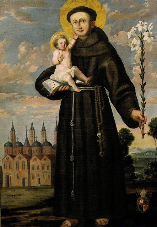 Santo António com o Menino Jesus em pintura de Stephan Kessler. #PraCegoVer