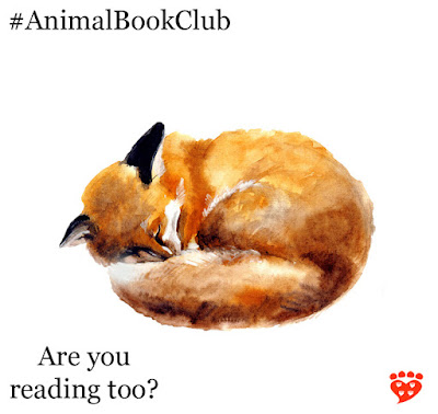 Celebrating two  years of the animal book club for people who love animals and books. Here, a fox curls up to sleep