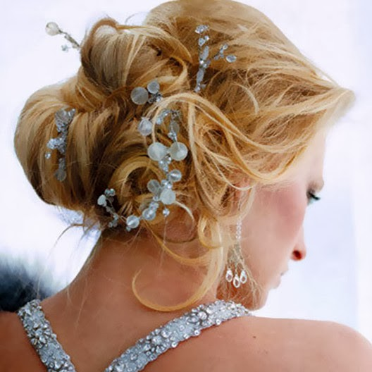 wedding hairstyle updo style brown color