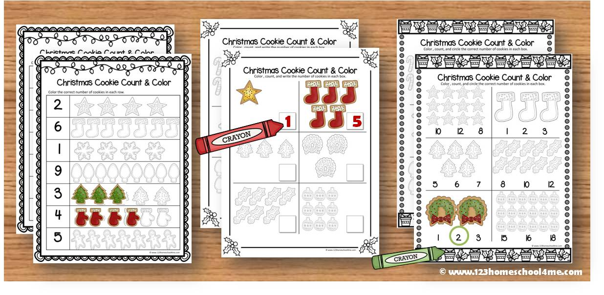 Christmas Cookie Count and Color (PreK / Kindergarten Math Worksheets)