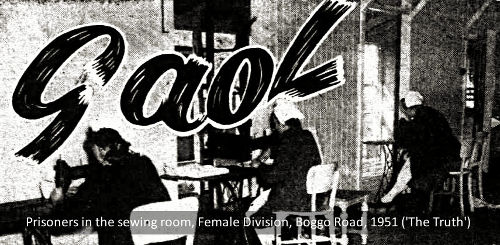 Prisoners in the sewing room, Female Division, Boggo Road, Brisbane, 1951 ('The Truth')