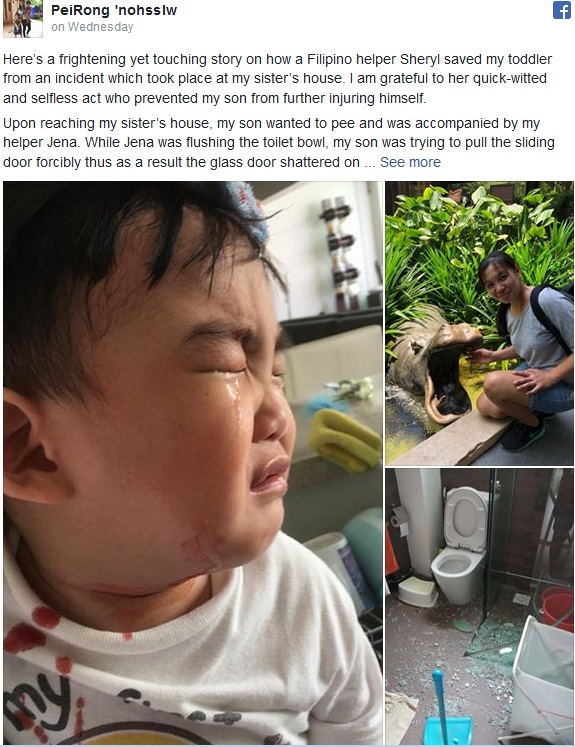 The toddler's mum, Ms Peirong who was grateful to the Filipino domestic worker named Sheryl for her quick-witted and selfless act.