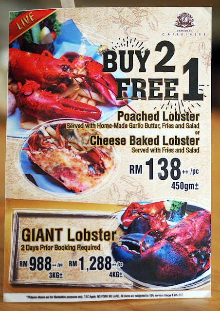 LOBSTER IN THE LIMELIGHT AT CAFFEINEES  Buy 2 Free 1 Promotion