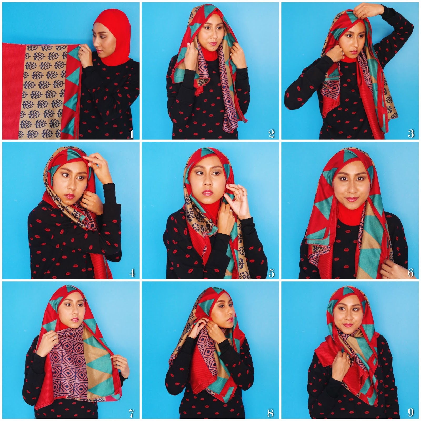 86 Gambar Terbaru Tutorial Hijab 2017 Segi Empat Simple 2017