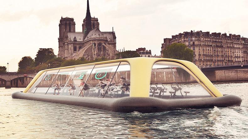 Gimnasio flotante en París impulsado por sus visitantes
