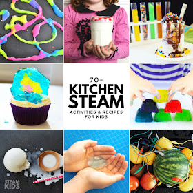 STEAM Kids in the Kitchen-  Awesome list of over 70+ science, technology, engineering, art, and mathematics inspired ideas for kids to try... in the kitchen!