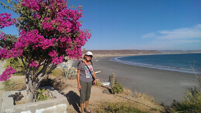 Liz in San Juanico, BCS overlooking Scorpion Bay