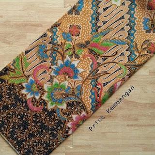 kain batik motif bunga parang biru