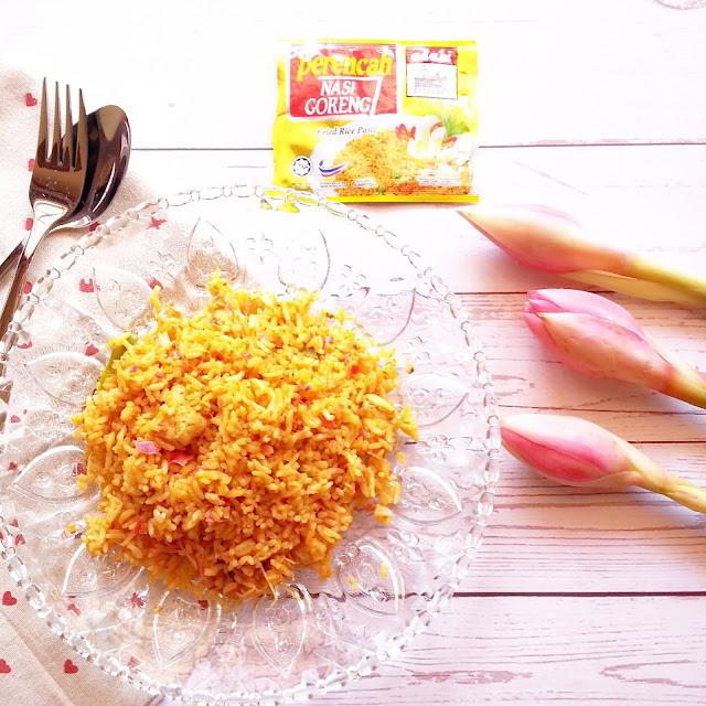 resepi mudah nasi goreng bunga kantan hanya menggunakan perencah nasi goreng adabi
