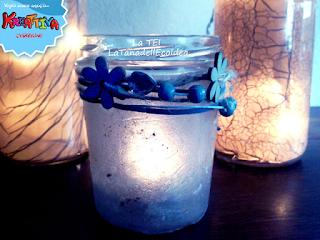 Porta candela riciclando vasetto vetro