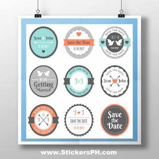 Round Sticker Labels -Save the Date Wedding