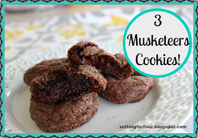 These delicious 3 Musketeers Cookies taste just like the chocolate candy bar! Easy recipe with a surprise chocolate bar center. Bag them up to make a great holiday and teacher gift idea! www.settingforfour.com