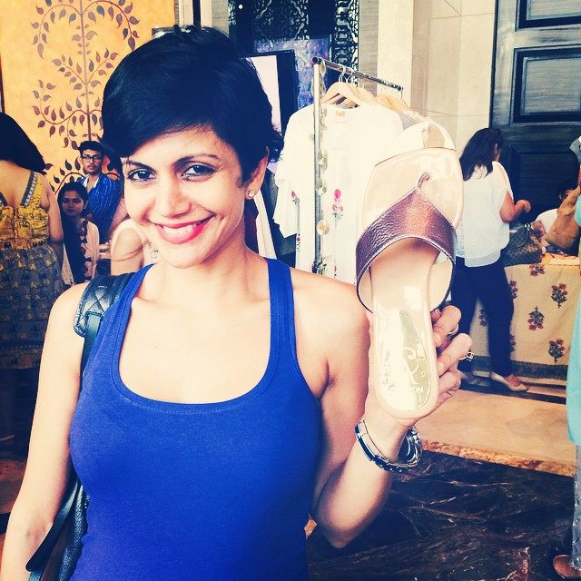 guess who dropped by today at @stylecracker holding her favorite shoe brand 😊 gorgeous , mandira bedi , crim z ons hoes , style cracker , saturday , happy clients ,, Latest Hot Pics of Mandira Bedi From Different Events