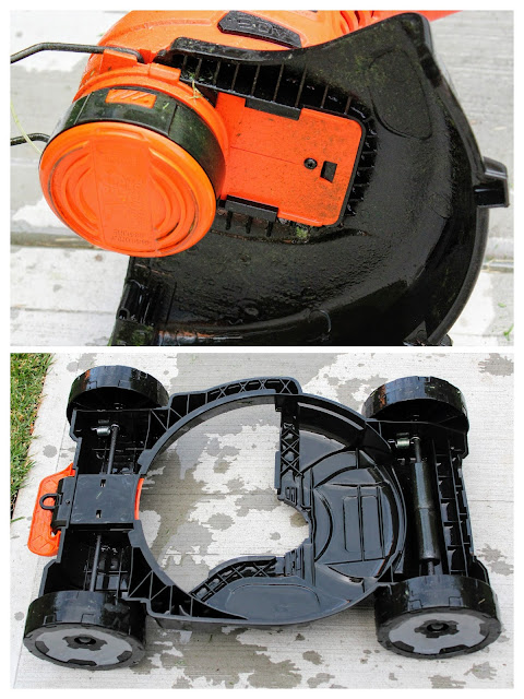 Black & Decker 3 in 1 Cordless Mower - A two picture collage of the debris guard and detachable mower deck after cleaning.