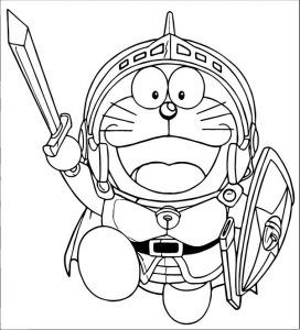 Tranh cho bé tô màu Doraemon làm lực sĩ