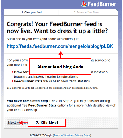 alamat feed blog di feedburner