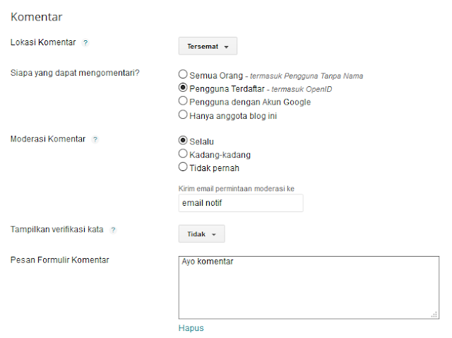 Cara mengatur komentar blogger