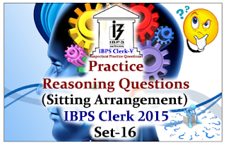 Race IBPS Clerk 2015- Practice Reasoning Questions (Sitting Arrangement) with Explanations Set-16