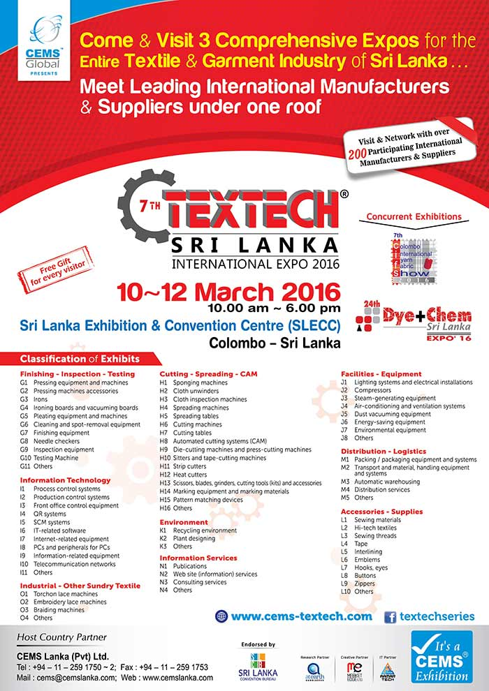 3 Comprehensive Expos for the entire Textile and Garment Industry of Sri Lanka.