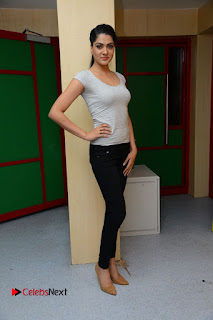 Actress Sakshi Chowdary Pictures in Black Jeans with Selfi Raja Team at Radio Mirchi  0088.JPG