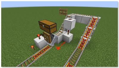 Minecraft トロッコ輸送 積み込み駅 複線 完成図④