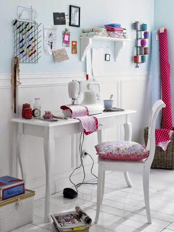 seewing room, office, Pracownia krawiecka, przechowywanie, jak urządzić, aranżacje, wyposażenie, kącik do szycia,