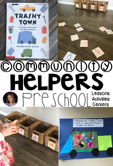 Are you looking for a fun hands-on community helper and fire safety themed unit that revolves around amazing stories and is appropriate for your preschool classroom? Then, you will love Community Themed Helper and Fire Safety Unit for Preschool. Trash Collectors.